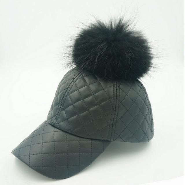 46f61dcdc3e Which in shower Real Raccoon Fur Pom Pom Pu Plaid Baseball Cap Hip Hop Faux  Leather
