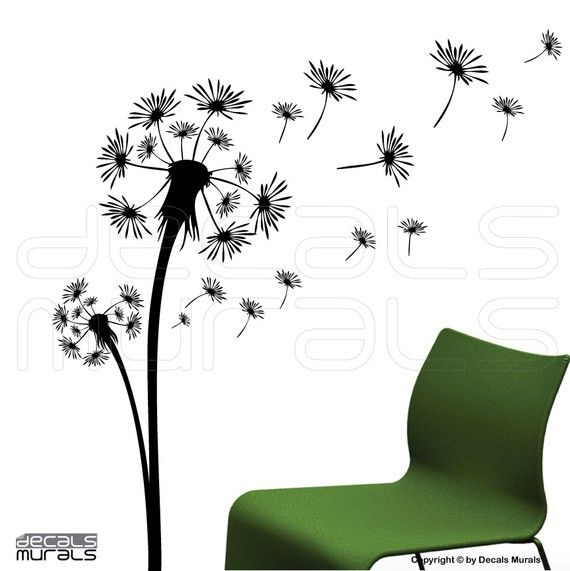 Wall decals DANDELION Vinyl decor stickers - Floral art by Decals Murals (Large) on Etsy, $39.99