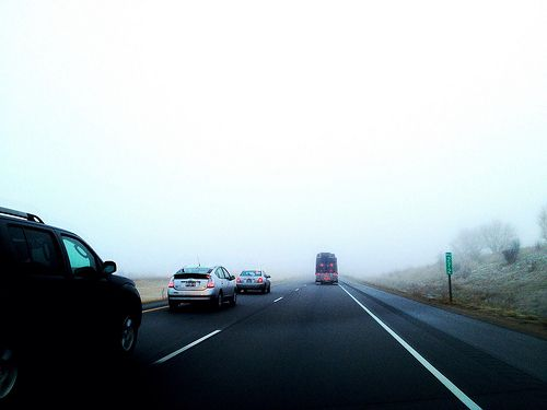 POTD - February 2nd. I hate following trucks carrying pipes in a foggy situation because I am convinced that a Final Destination situation will happen.