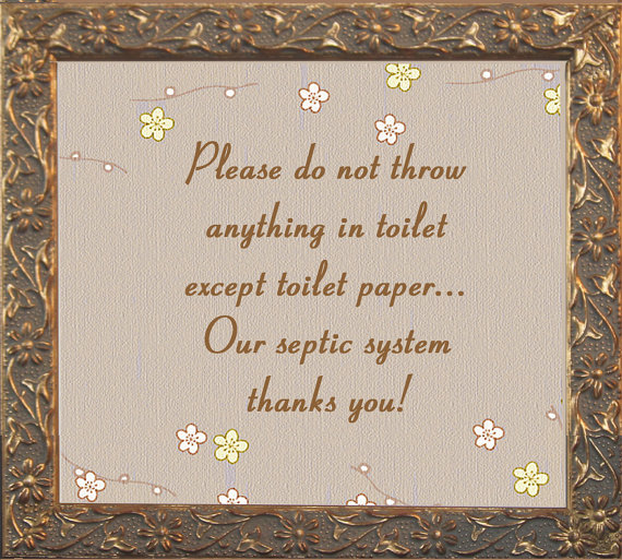 Gold flower septic sign for vanity top by saframes on etsy for 1 bathroom septic system