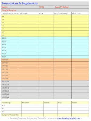 printable medication list