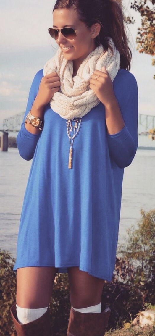 Blue tunic dress and high camel boots. Cosy fall look 2015 ...