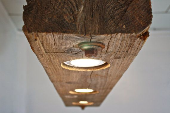 Lampadario Rustico Moderno : Rustic industrial modern hanging reclaimed wood beam light lighting