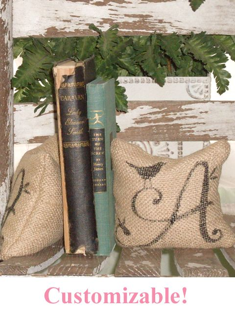 Monogram burlap bookends $18 The Bella Cottage. I could make these !