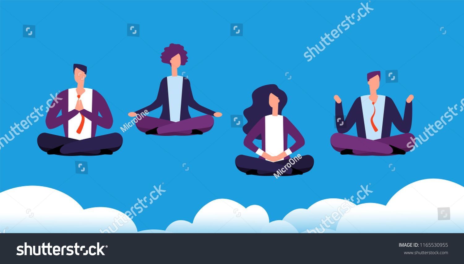 Meditation Yoga Group Business Team Relaxing And Meditating In Lotus Pose Office Workers Avoid Stress Vector Concept M Group Yoga Yoga Meditation Lotus Pose