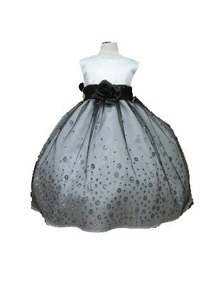 39226942f09 Karen Sparkly Flower Girl Dress with Tulle Overlay for Infants Dress Color   White Black Kids Sizes  6M (6 months) www.greatglovez.com  75.00
