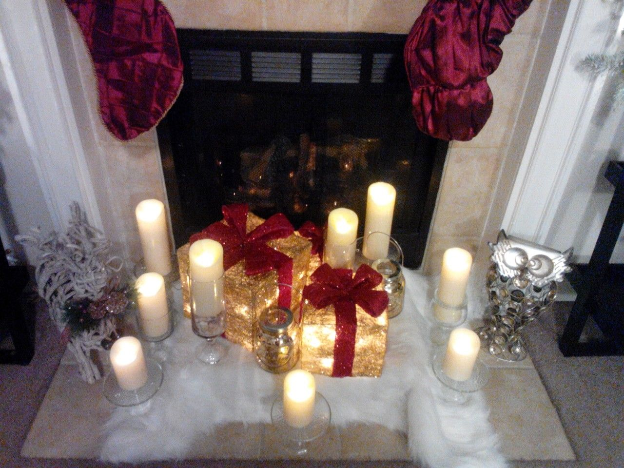 christmas with qvc luminara candles and decorative boxes by the