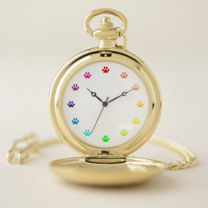 Colorful Color Wheel Paw Prints As Numbers Pocket Watch Zazzle Com Pocket Watch Watch Diy