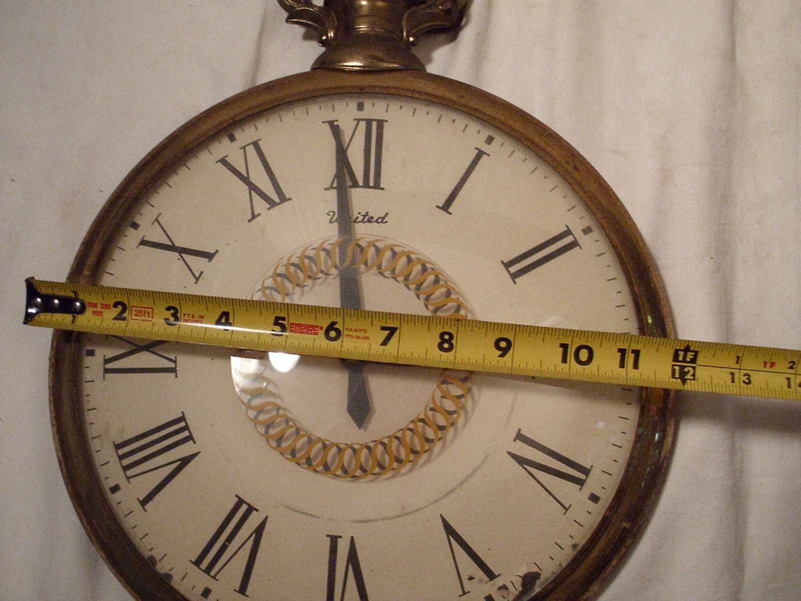 Vintage United Clock Corp 13 Face Giant Pocket Watch 1950s Wall