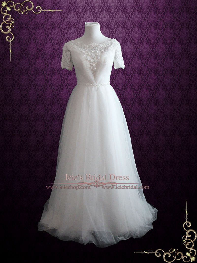 Whimsical modest vintage style lace and tulle beach wedding dress