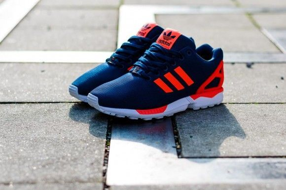 new concept f4c05 d6d1f adidas ZX Flux Dark Blue Solar Red Detailed Pictures ...