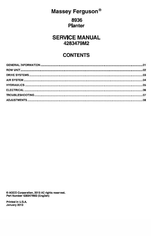 Massey Ferguson 8936 Planter Repair Service Manual Massey Ferguson Manual Ferguson