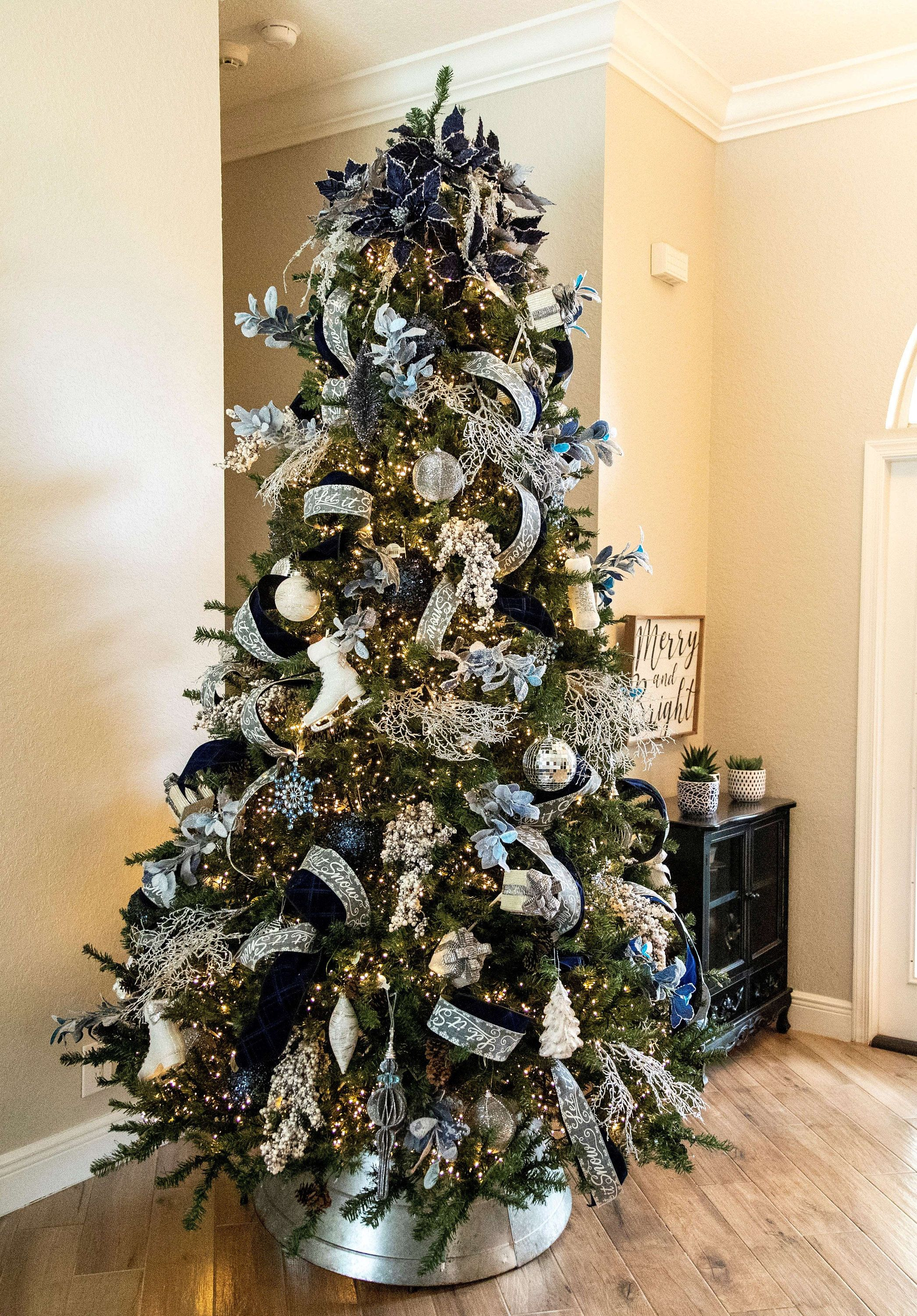 Designer Christmas Tree Package Twilight Theme Ornament Set And Ribbon Includes All Tree Decor Blue Christmas Tree Ribbon On Christmas Tree Cool Christmas Trees