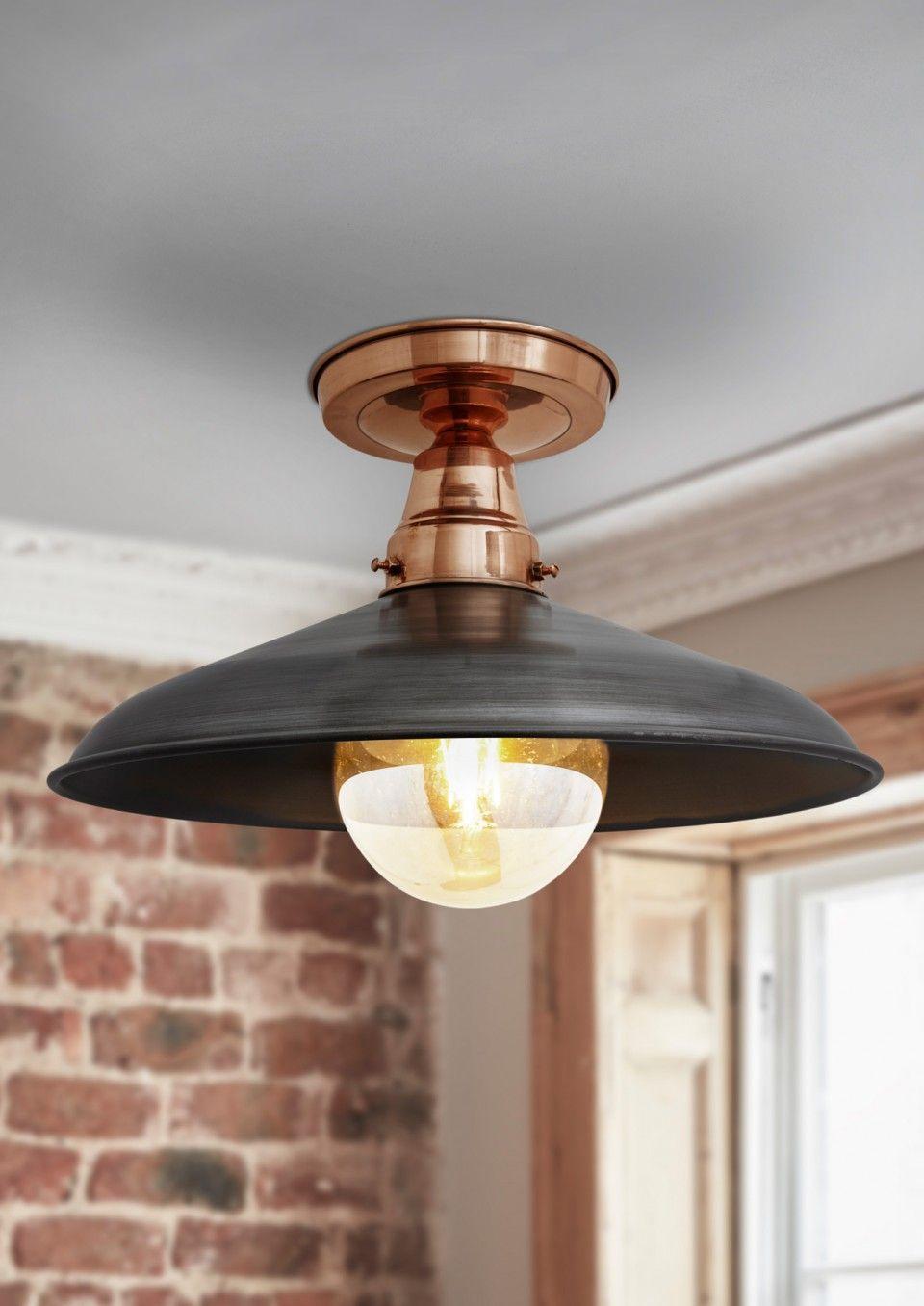 Barn Flush Mount Ceiling Light Copper Pewter Industville Low Ceiling Lighting Ceiling Lights Flush Mount Ceiling Lights