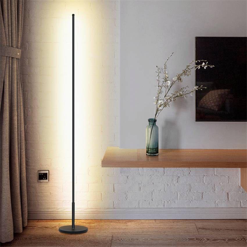 Nordic Minimalist Led Floor Lamps Standing Lamps Living Room Led Black White Aluminum Standing Lamps Lamparas Decorate Standing Lamp Living Room Lamps Living Room Modern Floor Lamps