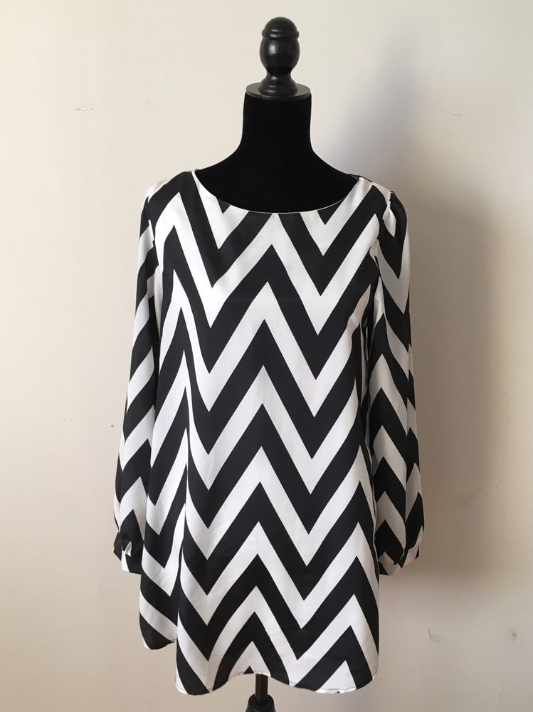 Nordstrom Everly Black And White Chevron Dress Long Sleeve Size M