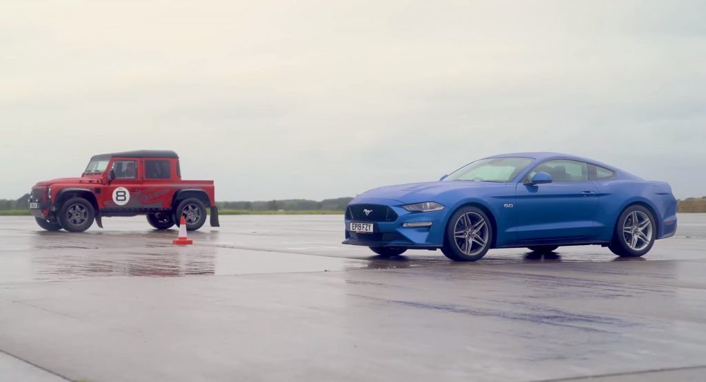 Can The Ford Mustang GT Beat That Weird-Looking Defender On A Drag Race?