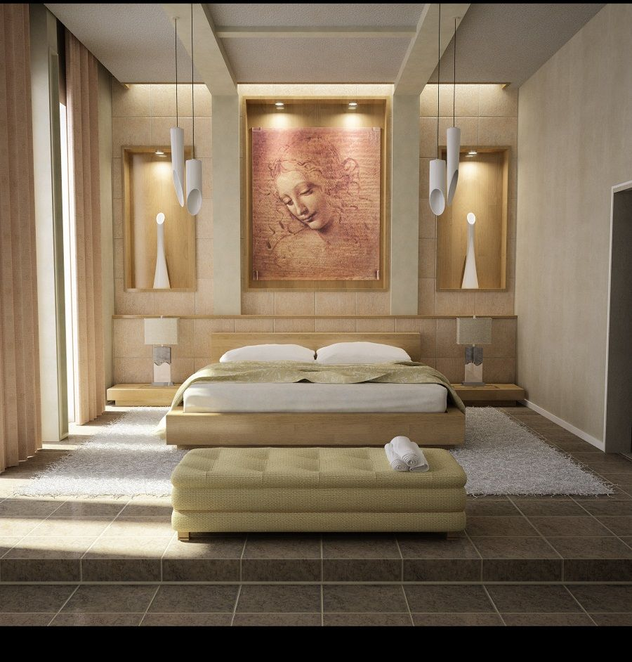 interesting-creative-bedroom-with-bookcase-and-lamps-creative-bedroom-design-ideas-also-bedroom-colors-decor-with-furniture-part-and-lamps-also-rug-with-cabinets-and-floral-wallpaper-also-chair