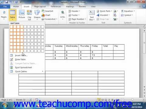 Word 2010 tutorial creating tables microsoft training lesson 162 word 2010 tutorial creating tables microsoft training lesson 162 ccuart Image collections