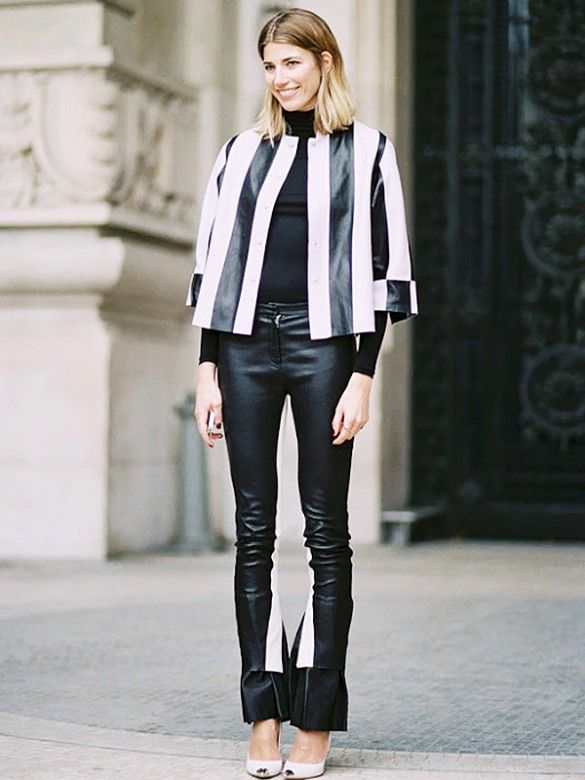 Veronika Heilbrunner looks sleek in a pair of slim leather pants. // #StreetStyle #OutfitIdeas