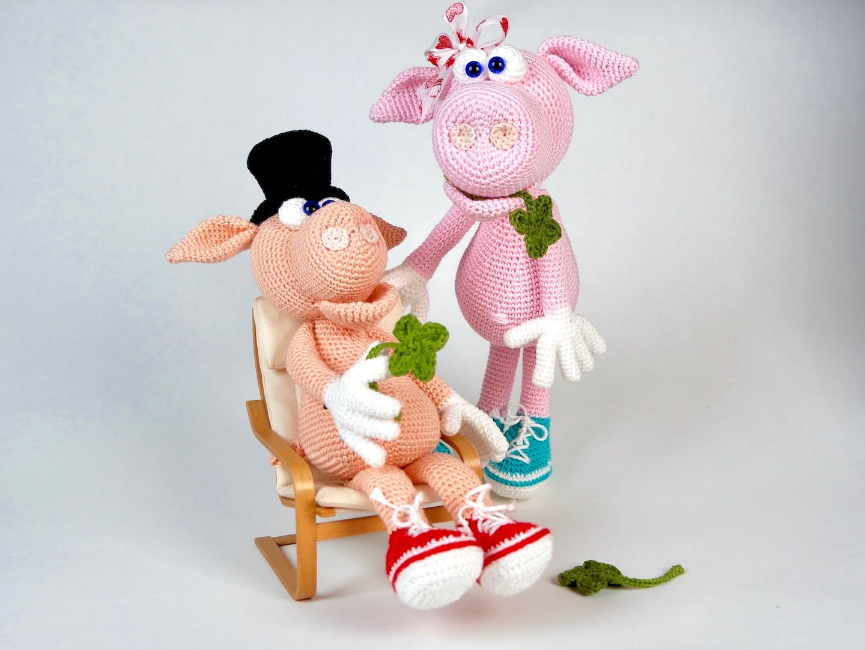 Häkelanleitung Schwein Gisbert und Frau Gisela | Amigurumi ...