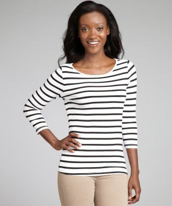 Three Dots : white and black striped stretch jersey three quarter sleeve top : style # 321101801