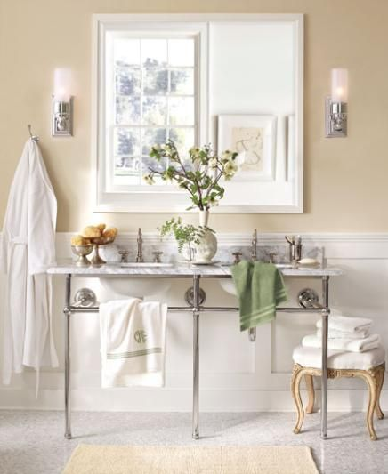 Benjamin Moore™ Paint Color:  954 spring is aspen, OC-117 simply white
