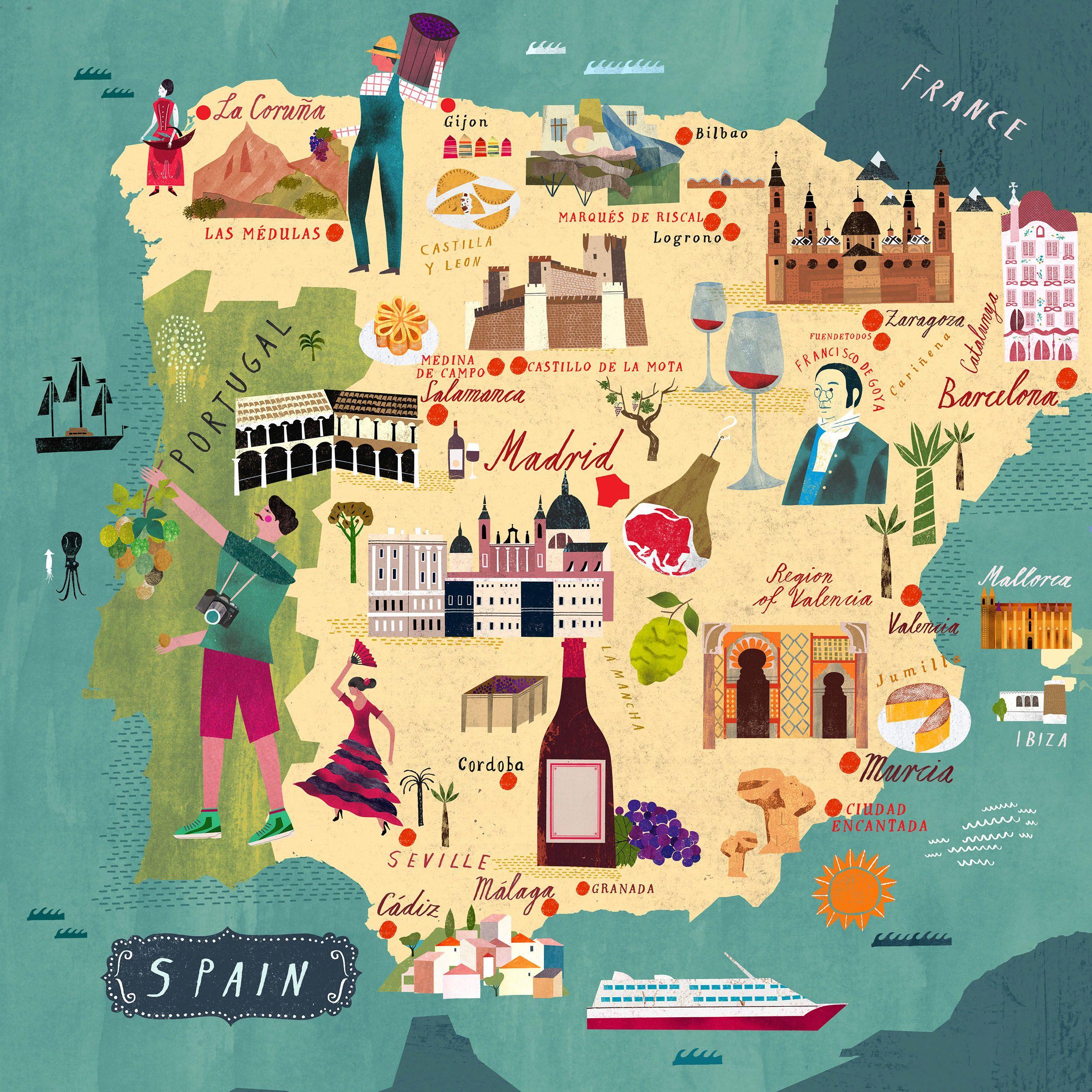 Map Of Spain For Vinos Martin Haake Illustrations