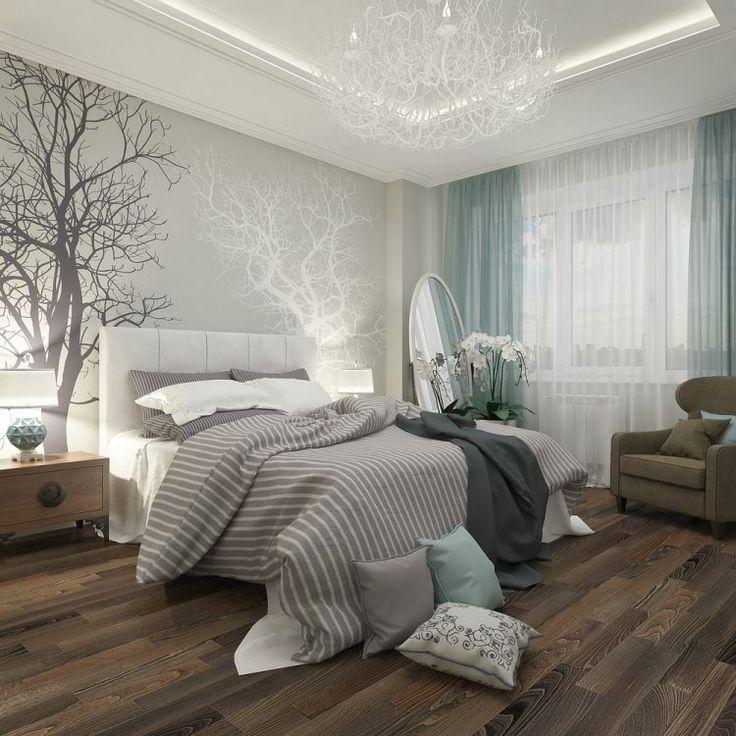 un papier peint gris à motifs d\u0027arbres et une literie en blanc et - deco chambre turquoise gris