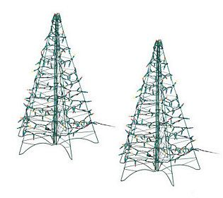 S/2 Pre-Lit 3' Fold Flat Outdoor Christmas Trees by Lori ...