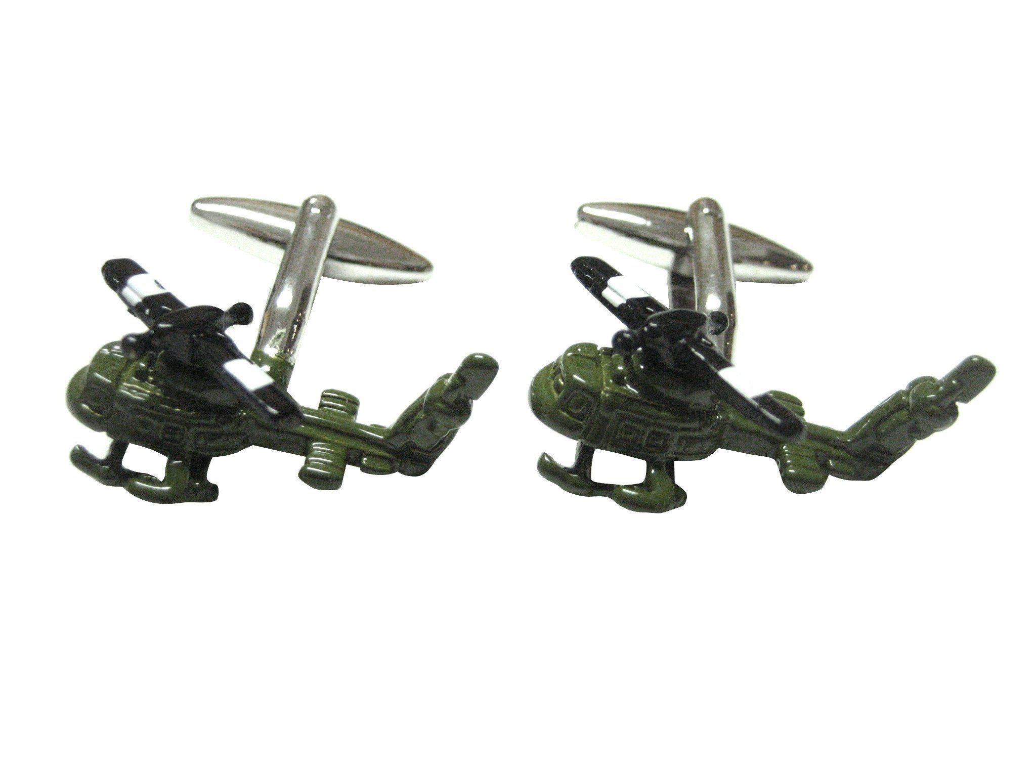 Dark Green Huey Helicopter Airforce Cufflinks | Aeronautical