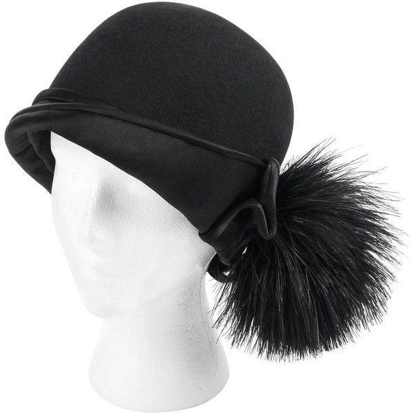 BELART Paris c.1920's Black Wool Felt Satin Feather Pom Pom Flapper... (1.505 BRL) ❤ liked on Polyvore featuring accessories, hats, vintage flapper hats, 1920s cloche hat, vintage feather hat, pom pom hat and wool brim hat