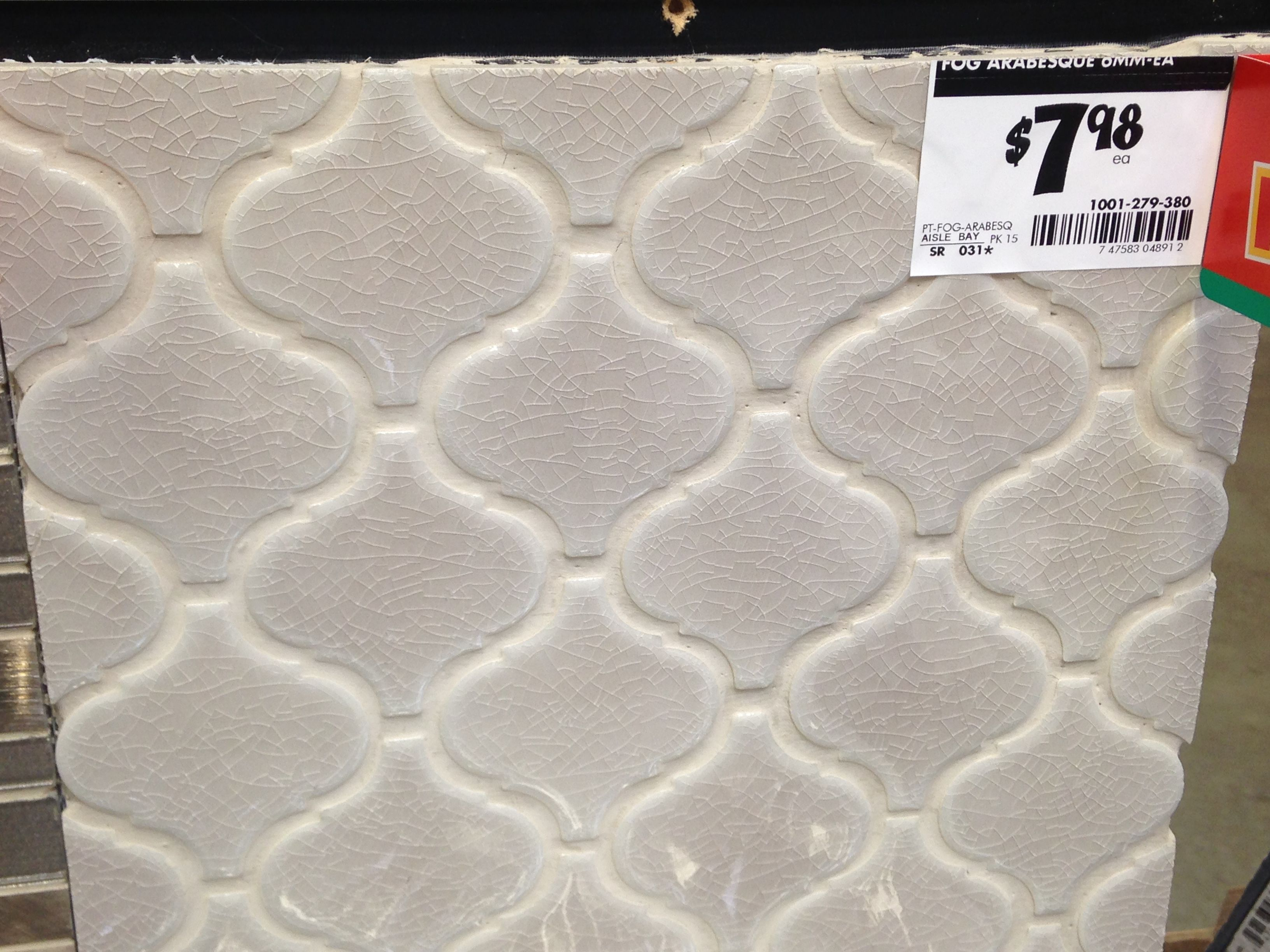 Fog Arabesque tile from Home Depot. Potential backsplash ...