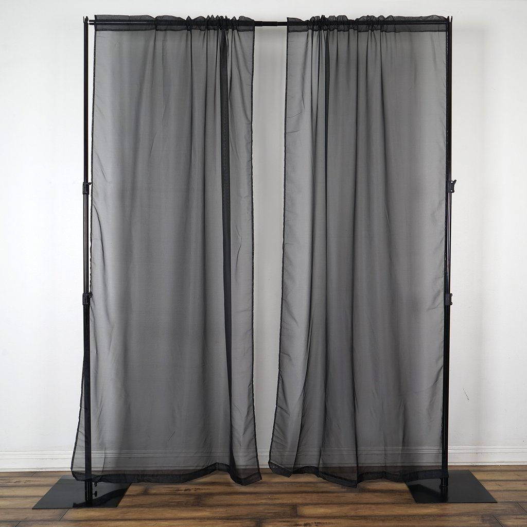 Pack Of 2 9ft Black Organza Sheer Backdrops Curtain Panel With Rod Pockets In 2020 Panel Curtains Curtains Curtain Backdrops