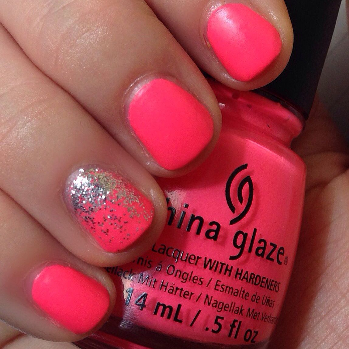Bright Pink Nail Polish Colors: Neon Pink Nails And A Glitter Gradient. China Glaze's