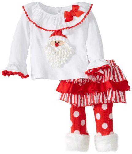 916f475668c5 Exclusive Mud Pie Baby-Girls Santa Claus Skirt Set with Fur Cuff plus polka  dot leggings