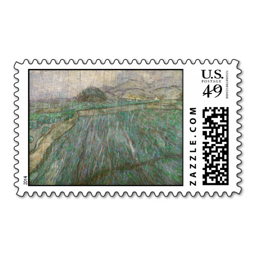 Wheat Field in Rain by Vincent Van Gogh Stamp