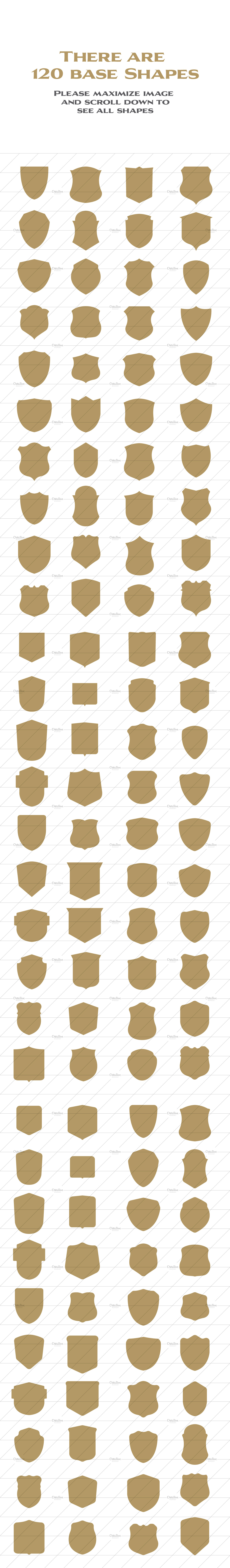 1080 Vector Shields Shapes by Damien on Creative Market