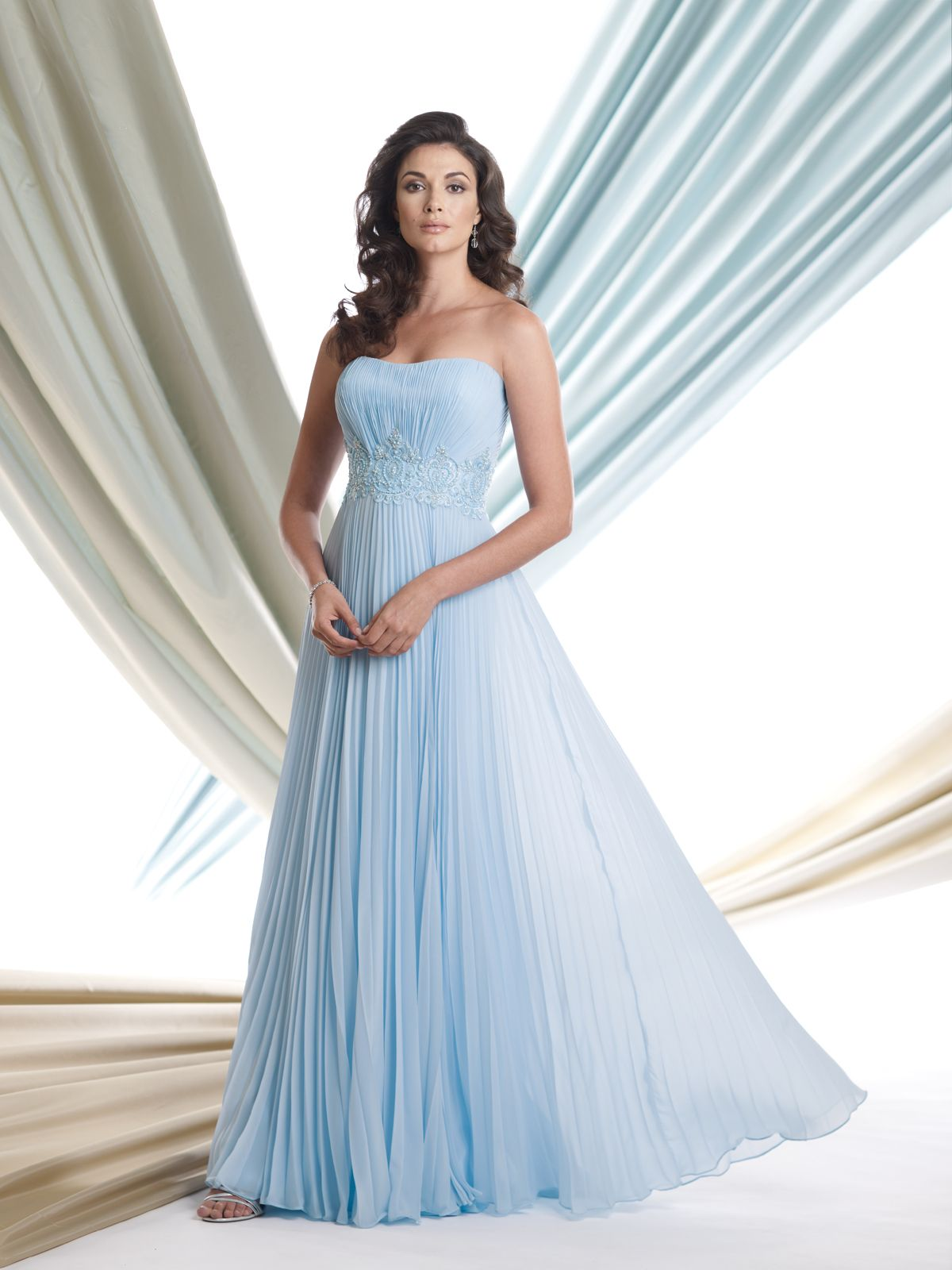 Size 20 a line wedding dress  Strapless pleated velvet chiffon full Aline dress with softly