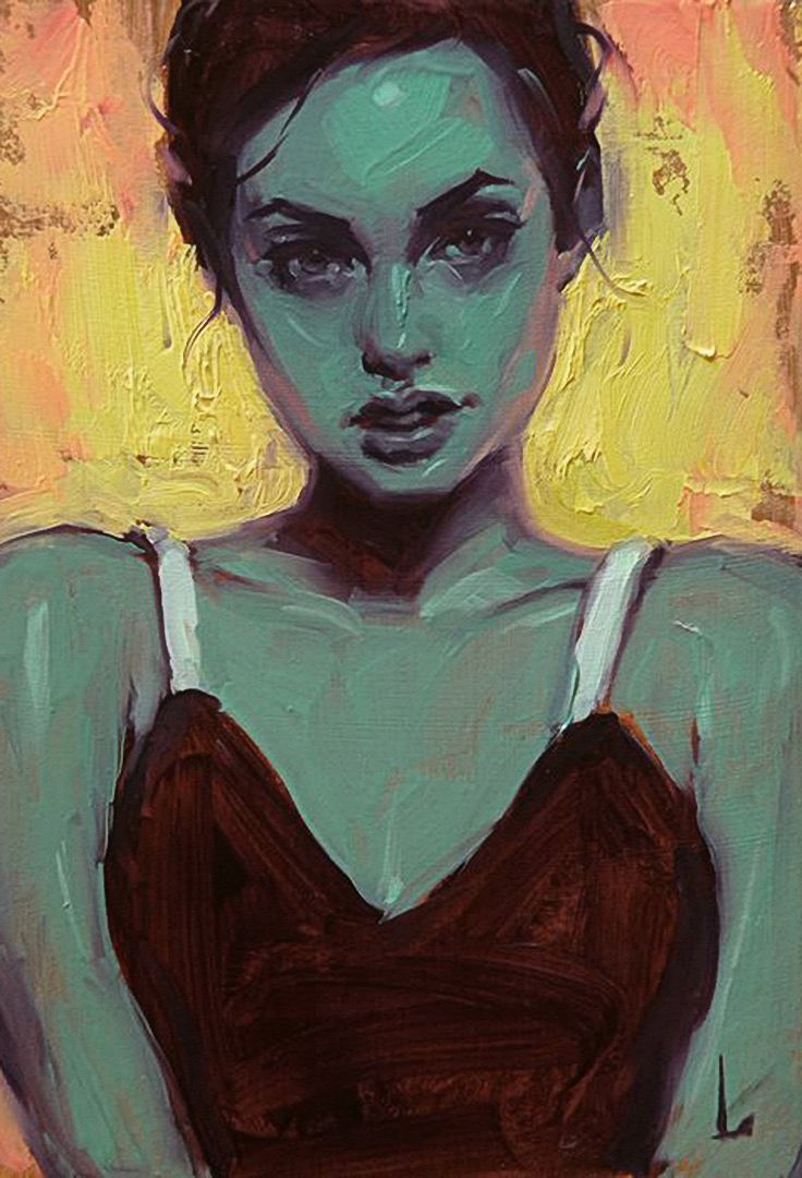 Artist: John Larriva, oil on hardboard {contemporary #expressionist art female head green woman face portrait painting} larriva.blogspot.com
