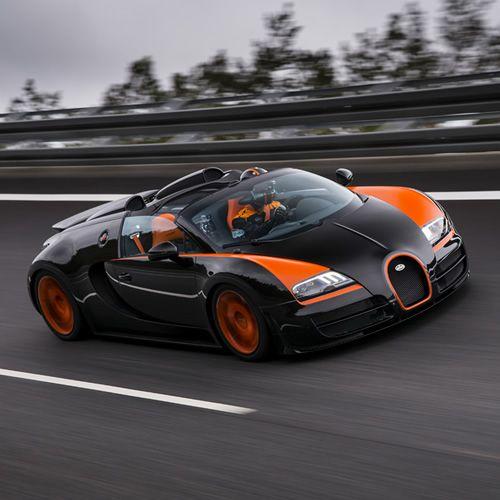 Bugatti Veyron Grand Sport Vitesse Painted In Black And: Black Car With Orange Details Bugatti Veyron Grand Sport