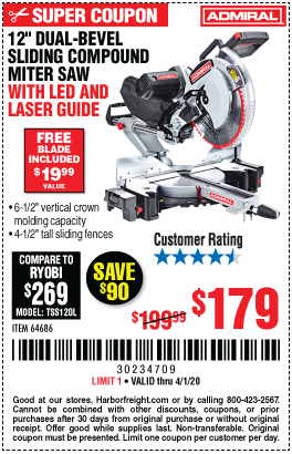 Admiral 12 In Dual Bevel Sliding Compound Miter Saw With Led Laser Guide For 179 In 2020 Sliding Compound Miter Saw Compound Mitre Saw Harbor Freight Tools
