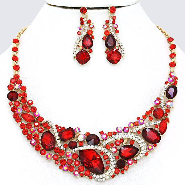 Crimson Ruby Red Siam AB Clear Crystal Rhinestone Formal Gold Chunky