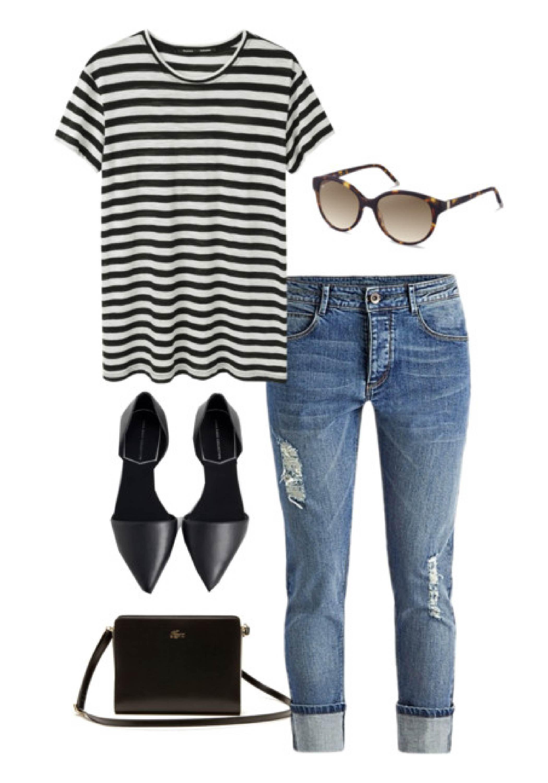 Ein gestreiftes T-Shirt, D Orsay Flats, Jeans und eine Rodenstock  Sonnenbrille ergeben einen schönen und alltagstauglich Look. 6318aa8cb5