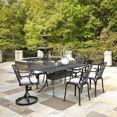 Homestyles Largo 7 Piece Outdoor Patio Dining Set With Gray Cushions 7 Piece Dining Set Dining Set House Styles