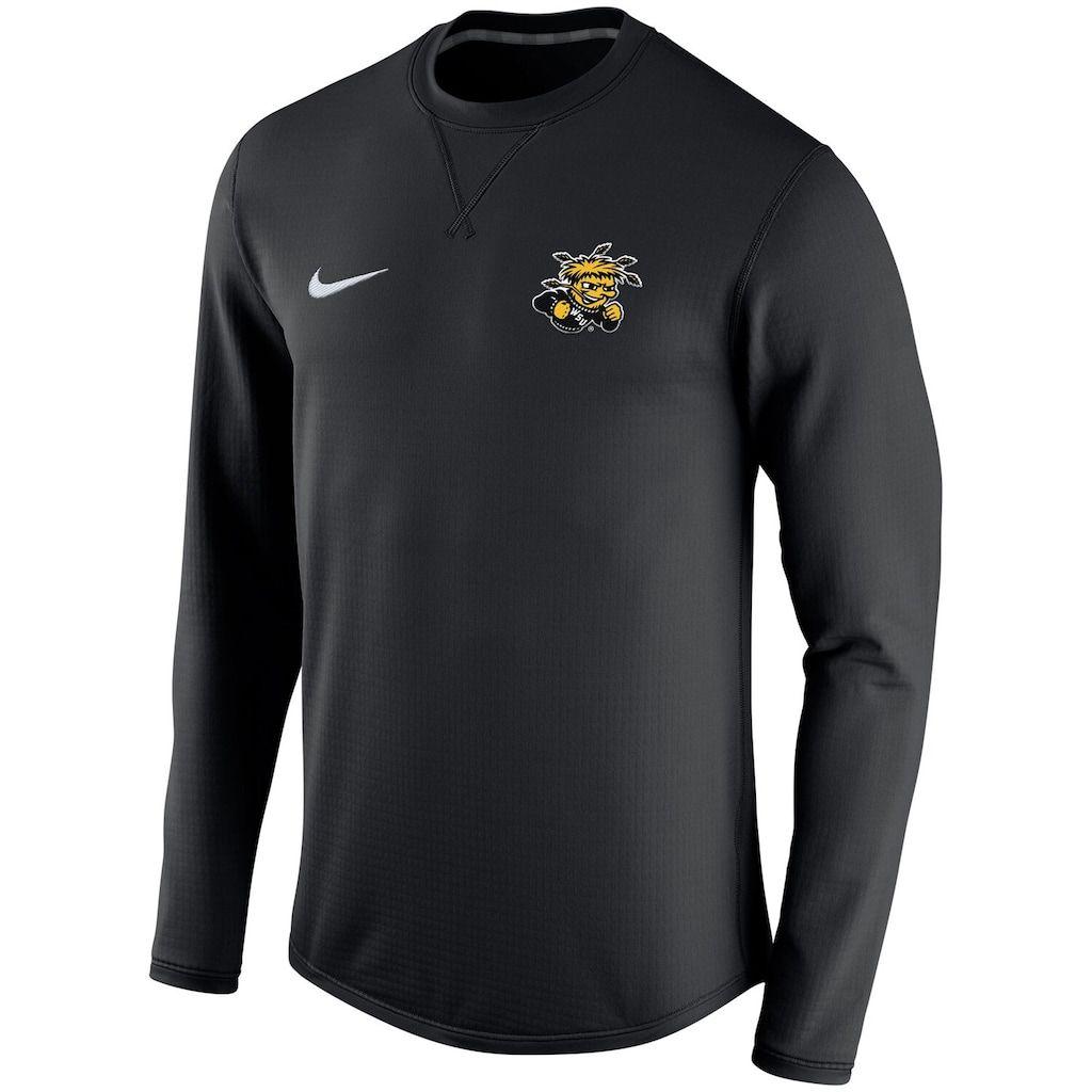 Men S Nike Black Wichita State Shockers Modern Performance Crew Sweatshirt Nike Men Sweatshirts Long Sleeve Tshirt Men [ 1024 x 1024 Pixel ]