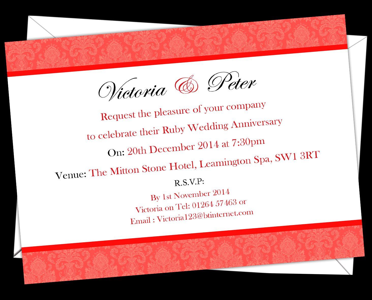 Ruby Wedding anniversary Invitations. Prices start from £6.50. Free ...