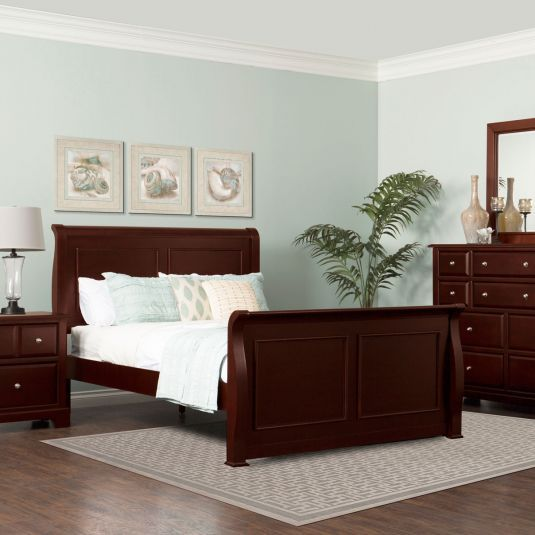 Best Queen Sleigh Bedroom Set Cherry Finish Bedroom Furniture 400 x 300