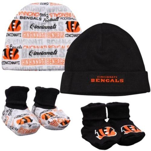 $19.95 Cincinnati Bengals Newborn 4-Piece Hat and Booties Set - Black