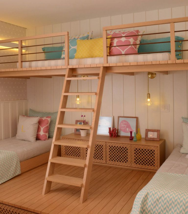 This cute little girls bedroom has a lofted playspace | room ...